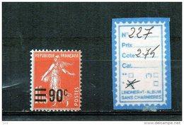 FRANCE A CHARNIERE * 227 - 1906-38 Semeuse Con Cameo