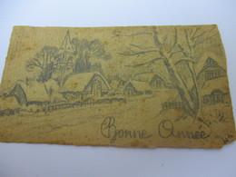 Petite Carte De Voeux /Bonne Année/  Dessin Crayon Mine  / Cicé - Hue/ Occupation/ 1944       CVE146 - Nouvel An