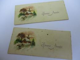 Mini Carte De Voeux /Bonne Année/  2 Exemplaires Identiques/ Eglise De Village Sous La Neige/ Vers 1930      CVE147 - Nouvel An