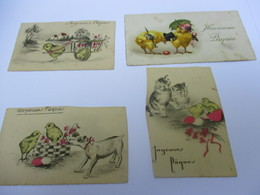 Petites Cartes De Voeux /Pâques/ 4 Exemplaires Dont Trois Retaillés/ Poussins / Vers 1930      CFA28 - Easter