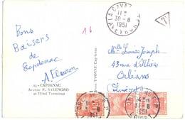 CP LA CAVALERIE AVEYRON TàD 30-8-1951 Non Affranchie TAXÉE 6f10 GERBES DE BLÉ à ORLEANS R.P. LOIRET - Strafport