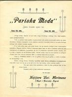 Stara Reklama - Plakat Pariška Moda Jedini Hrvatski Modni List 1901. Zagrem Lav Hartman Croatia - Advertising