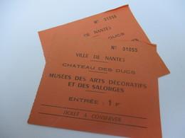 Tickets D'entrée X 2/ Musées Des Arts Décoratifs Et Des Salorges/Château Des Ducs/Ville De NANTES/Vers 1950    VPN150 - Tickets D'entrée