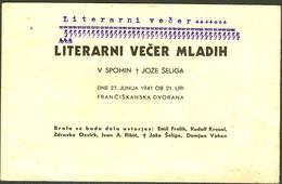 Stara Reklamna Karton Pozivnica LITERARNI VEČER MLADIH V SPOMIN JOZE SELIG 1941.  Slovenia - Advertising