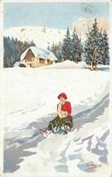 PELLEGRINI (illustrateur) - Femme Faisant De La Luge. - Illustratori & Fotografie