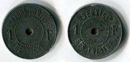 N93-0554 - Monnaie De Nécessité - Vichy - Sapeurs-Pompiers - Service Des Théâtres - 1 Franc - Monétaires / De Nécessité