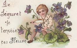 CPA  84 SEGURET  FANTAISIE  ENVOIE FLEURS ENFANT GAUFREE BRILLANT - France
