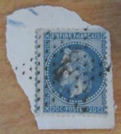 Timbre Napoléon III Lauré 20c Bleu YT N°29B Oblitéré Sur Fragment - Etoile Chiffrée N°4 - Voisin à Gauche - 1863-1870 Napoleon III With Laurels