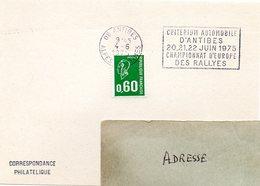 COURSE AUTOMOBILE = 06 ANTIBES 1975 = FLAMME SECAP TEMPORAIRE 'CRITERIUM - RALLYES' - Storia Postale