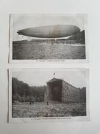 """Lot 2 CP's """"Le """"Belgique"""" Premier Dirigeable Belge Et Son Hangar"""" - 1909 - Dirigeables"""