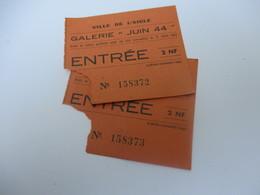 """Ticket D'entrée / Galerie """"Juin 44"""" / Ville De L'Aigle / 2 NF/Le Réveil Normand/ /Vers 1960   VPN154 - Tickets D'entrée"""