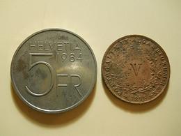 2 Coins * Portugal V Reis 1875 + Switzerland 5 Francs 1984 - Vrac - Monnaies