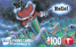 HongKong, Hello Phonecard, Santa, Christmas, Noêl, Weihnachten, Navidad - Hong Kong