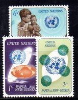 R125 - PAPUA NUOVA GUINEA 1965 ,serie Yvert N. 80/82  ***  MNH  Onu - Papua Nuova Guinea