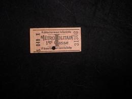 Ancien Ticket De Métro .1 ère Classe .Voir 2 Scans . - Titres De Transport