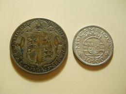 2 Coins * Portuguese Moçambique 10 Escudos 1952 Silver + Great Britain 1/2 Crown 1923 Silver - Vrac - Monnaies
