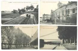 4 Cpa Agen - La Garonne, Ecole De Commerce, Pont-Canal, Train, Institution Sainte Foy ... ( S.3056 ) - Agen