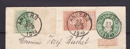 N° 45 Et 57 / Envel. Lettre D' Anvers Vers COLOGNE Allemagne Bel Affranchissement Mixte 22 Juil. 1893 - 1893-1900 Fine Barbe