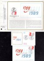 """"""" 1789 / 1989 """" Sur LOT (Feuillet CEF + Enveloppe 1er Jour + Carte Maximum) De 1987 N°YT 2461 Parf état - Révolution Française"""