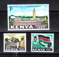 Kenya  -  1963. Bandiera, Kenyatta E Palazzo Governo. Flag, Kenyatta And Government Palace. MNH - Timbres