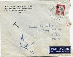 FRANCE LETTRE PAR AVION DEPART ? S/SEINE PORT ?-?-1961 SEINE TAXEE A L'ARRIVEE A SAIGON LE 11-?-1961 VIETNAM - 1960 Marianne De Decaris