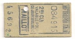 ANCIEN TICKET DE METRO PARIS MAILLOT   B420 - U-Bahn