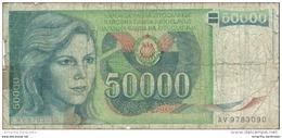 YOUGOSLAVIE 50000 DINARA 1988 P-96 BC/FR  [ YU096circ ] - Yugoslavia