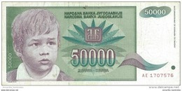YOUGOSLAVIE 50000 DINARA 1992 P-117 CIRCULÉ  [YU117circ] - Yugoslavia