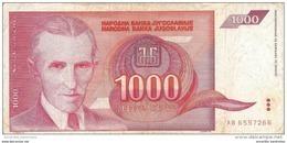 YOUGOSLAVIE 1000 DINARA 1992 P-114 CIRCULÉ [YU114circ] - Yougoslavie