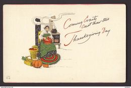 THANKSGIVING ~ Coming Events Woman Cooking, Apples, Pumpkin - Thanksgiving