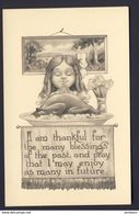 Thanksgiving Little Girl Praying At Table, Large Cooked Turkey - Thanksgiving