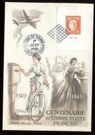 Carte Du Centenaire Du Timbre En 1949 - O 337 - 1921-1960: Modern Period