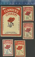 FLANDERS CHARM ( POPPY POPPIES KLAPROOS PAVOT PAPAVER MOHN ) OLD BELGIUM MATCHBOX LABELS - Boites D'allumettes - Etiquettes