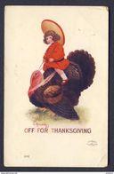 Boy Riding Turkey. Off For Thanksgiving - Bernhardt Wall A/s - Thanksgiving