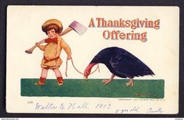Boy With Axe Leading Turkey - A Thanksgiving Offering. - Bernhardt Wall A/s - Thanksgiving
