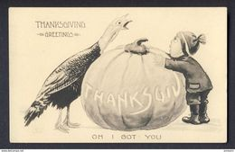 Thanksgiving FACE OFF Turkey And Boy Looking Over Pumpkin (Bernhardt) WALL A/s - Thanksgiving