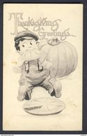 Thanksgiving Greetings, Boy Eating Pie Pumpkin (Bernhardt) WALL A/s - Thanksgiving