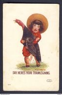 Boy Holding Turkey. Say Here's Your Thanksgiving - Bernhardt Wall A/s - Thanksgiving