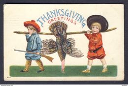 Boys Carrying Turkey On Stick, Rifle Thanksgiving Greetings - Bernhardt Wall A/s - Thanksgiving