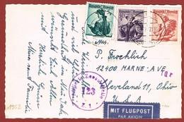 Luftpost Postkarte  Ab Österreich  Nach U S A  1952, Porto 3.35 Sch - 1945-60 Briefe U. Dokumente