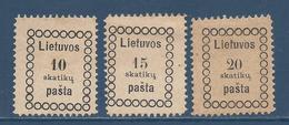Lituanie Lietuvos - YT N° 1 à 3 - Neuf Sans Gomme Avec Charnière - 1918 - Lituanie