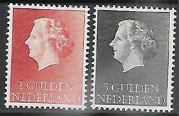 Netherlands 1954-5   Sc#361 & 363   1G & 5G  MNH  2016 Scott Value $5.75 - Period 1949-1980 (Juliana)