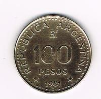 &   ARGENTINA  100 PESOS 1981 - Argentine