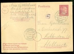 Deutsches Reich Postkarte 6 Pf. Hitlerkopf  Gelaufen In 1944 Van COESFELD Nach ROTTERDAM  (11.451v) - Lettres & Documents
