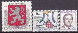 1993, Tschechische Republik,Ceska,  01/03, Wappen+Eiskunstlauf+ Václav Havel. MNH ** - Tschechische Republik