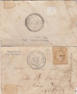 LETTRE. 23 OCT 69. N° 28. VOSGES BRUYERES-EN-VOSGES. GC 661 POUR EAUX ROUGES. VERSO PERLÈ T22 BROVELLIEURES VOSGES/ 2881 - Marcophilie (Lettres)