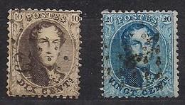 België Belgique 1863 OCB Nr 14 - 15 (o) Obliteré Cote 11 Euro - 1863-1864 Médaillons (13/16)