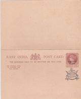 Entier Postal East India - Faridkot State - Double Carte Réponse - Etat Neuf - Cartes Postales