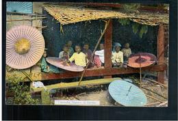 BURMA/ MYANMAR Umbrella Makers In Burma Ca 1910 OLD POSTCARD 2 Scans - Myanmar (Burma)