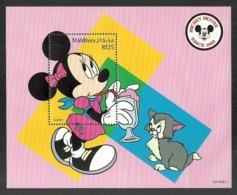 MALDIVES 1999 DISNEY 70TH ANNIVERSARY MICKEY MOUSE MINNIE & CAT M/SHEET MNH - Maldives (1965-...)